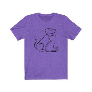 T-Shirt: Cat and Dog T-Shirt Printify Heather Team Purple XS