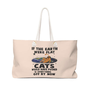 Weekender Bag: Cats If The Earth Were Flat Bags Printify 24x13