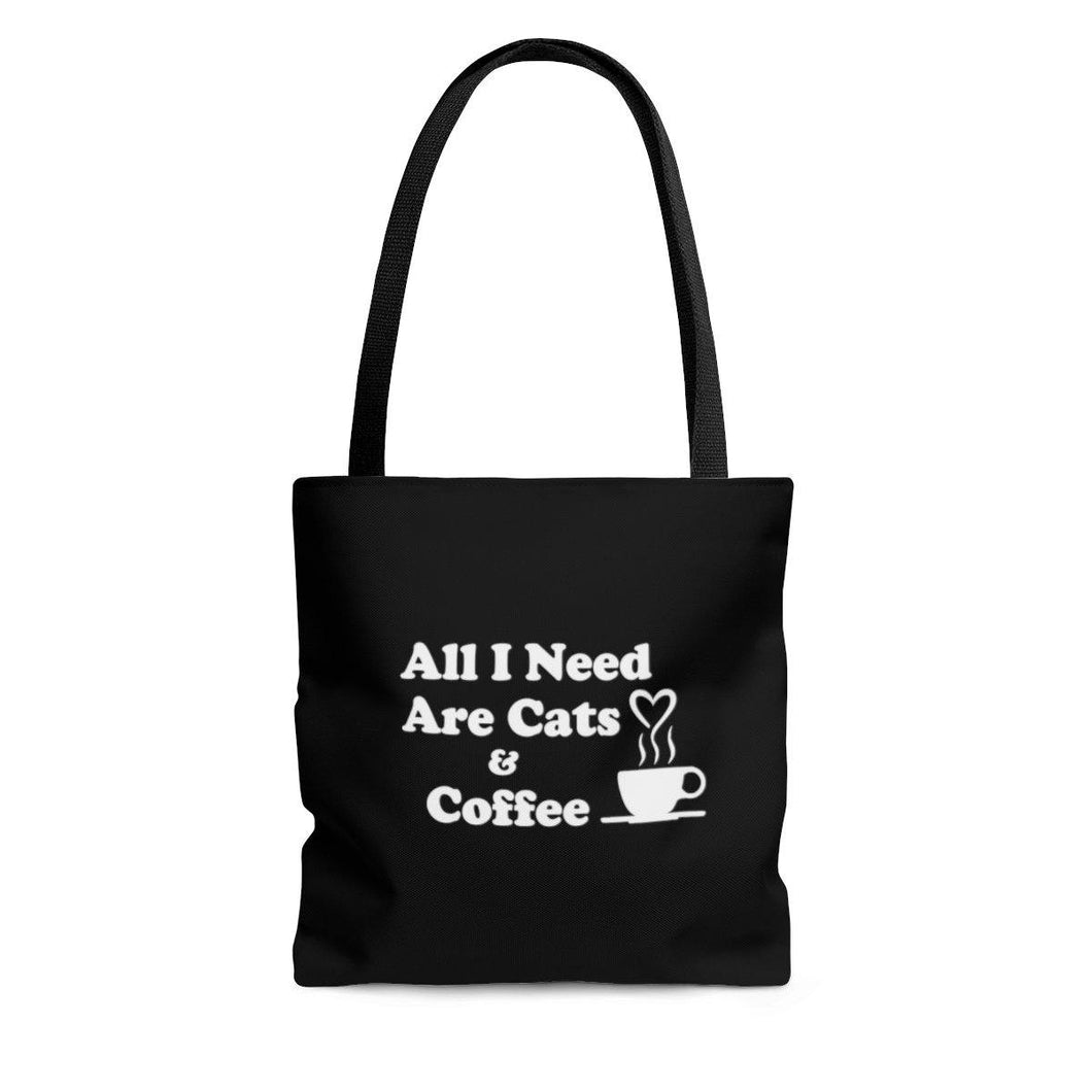 Reusable Tote Bag: All I Need Are Cats & Coffee Bags Printify Small
