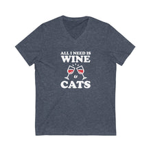 Load image into Gallery viewer, V-Neck T-Shirt: All I Need Is Wine & Cats V-neck Printify Heather Navy XS