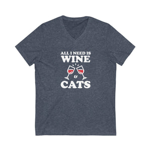 V-Neck T-Shirt: All I Need Is Wine & Cats V-neck Printify Heather Navy XS