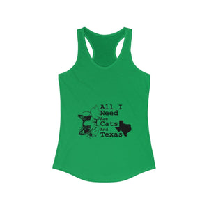 Women's Racerback Tank: All I Need Are Cats And Texas Tank Top Printify Solid Kelly Green XS