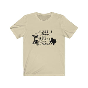 T-Shirt: All I Need Are Cats And Texas T-Shirt Printify Natural XS