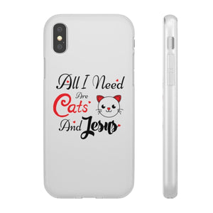 Flexi iPhone & Galaxy Phone Cases: All I Need Are Cats & Jesus Phone Case Printify iPhone X
