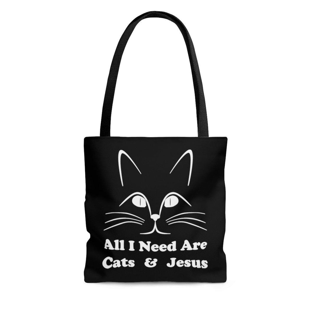 Reusable Tote Bag: All I Need Are Cats & Jesus Bags Printify Small