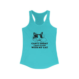 Women's Racerback Tank: Can't Today I Have Plans With My Cat Tank Top Printify Solid Tahiti Blue L