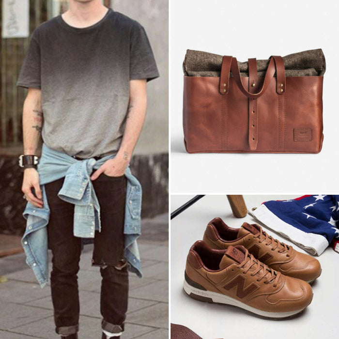 Neutral+Denim & New Balance M1400BH & Noise Goods Lounge Bag Chocolate