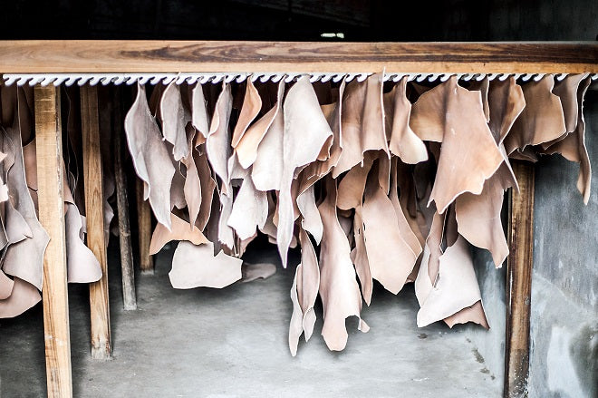 vegetable-tanned leather hides
