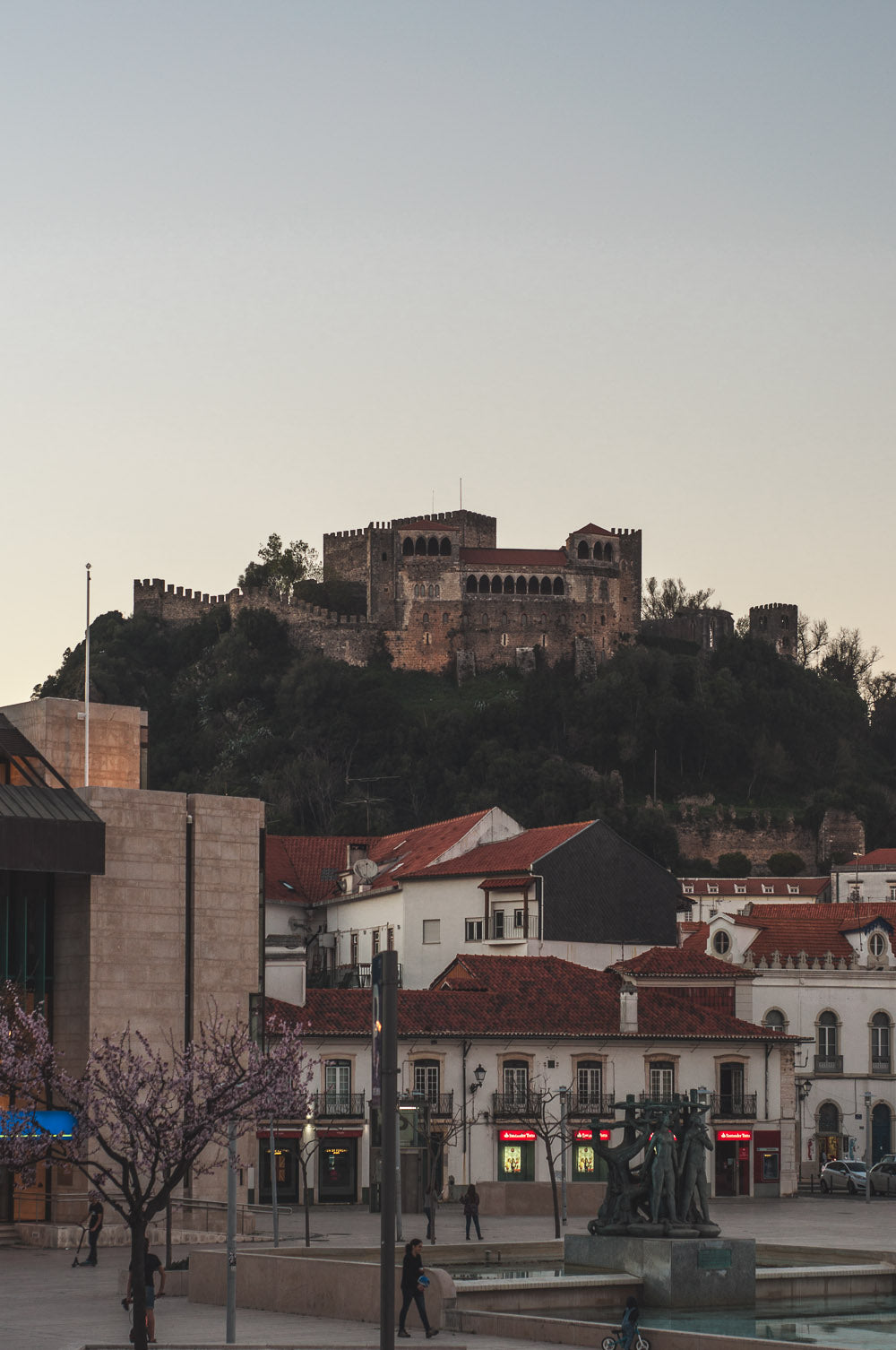 A view of the castle from the center, in the city of Leiria, Portugal