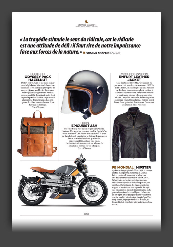 Odyssey Pack Hazelnut on Moto Heroes magazine, from France