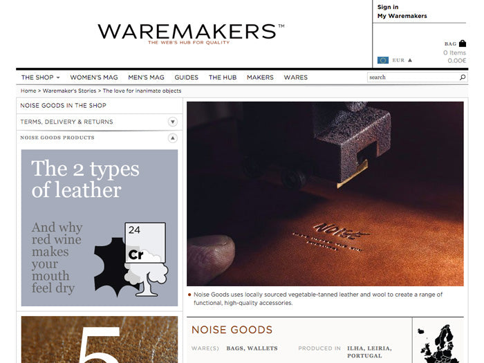 Screenshot of the Waremakers page about Noise Goods