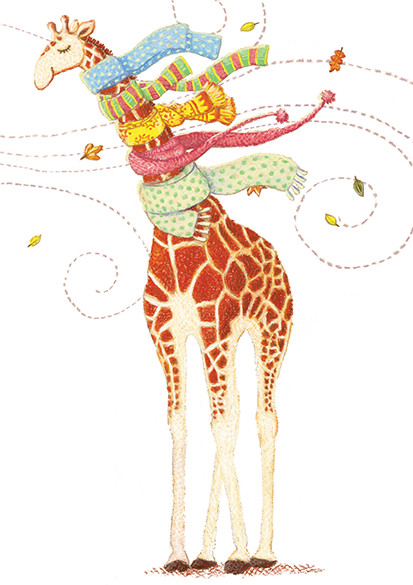 Giraffe With Scarves