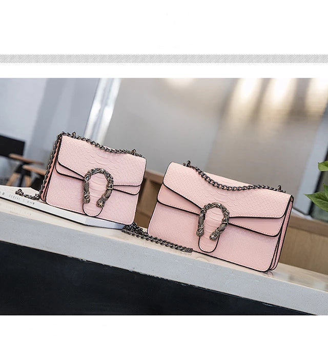 Snake metal chain Cross body Designer Handbag Pink small