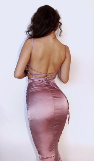 Satin lace up long midi backless dress