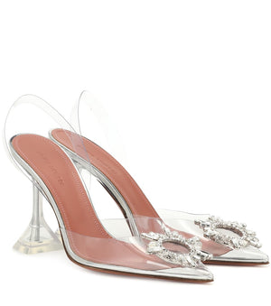 Luxury Transparent Clear Perspex Heels Pointed Silver 9cm
