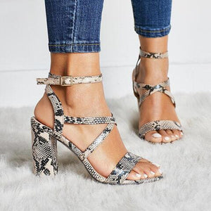 Snake Strappy Block Heels Sandals Plus Size 34-43