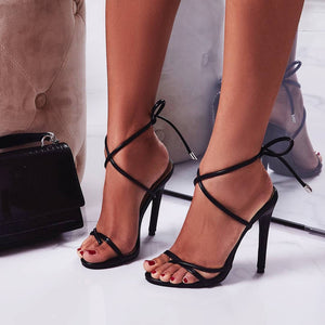 Strappy lace up neon Heels Sandals woman shoes
