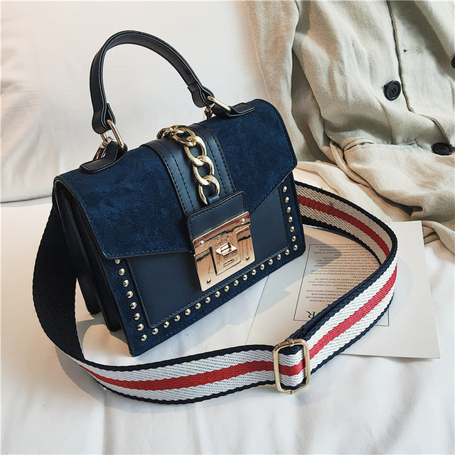 Studded chain suede small cross body designer bag Blue