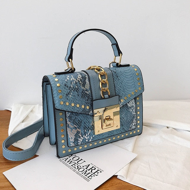 Studded chain snake small cross body designer bag Blue