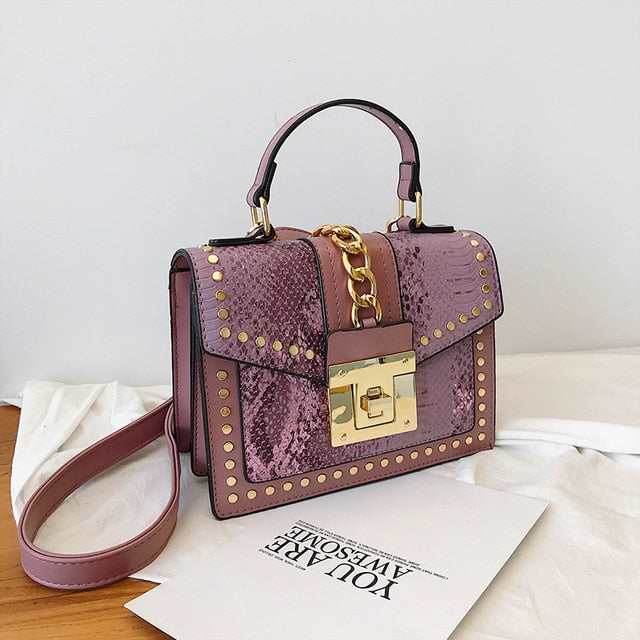 Studded chain snake small cross body designer bag Purple