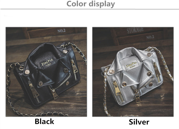 Designer Motorcycle Jacket Women Leather Handbag Silver