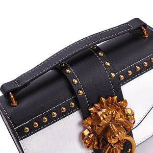 Luxury Metal Lion Head Cross body Designer Handbags White