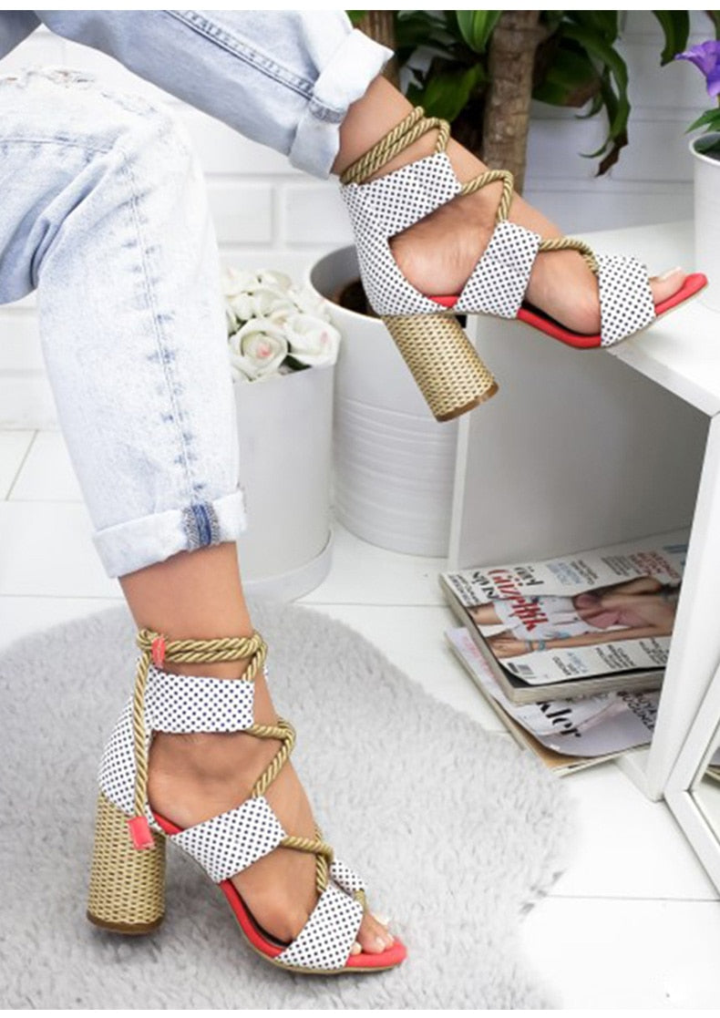 Lace Up Suede Sandals Gladiator Rope High Heels woman shoes