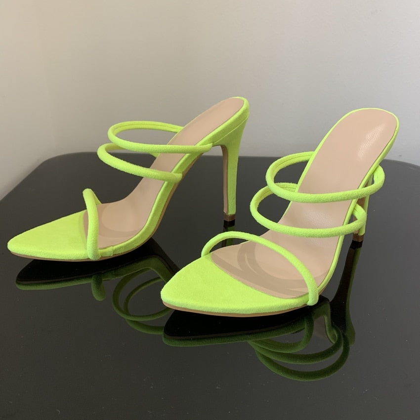 Neon Strappy Mules High Heel Sandals Yellow