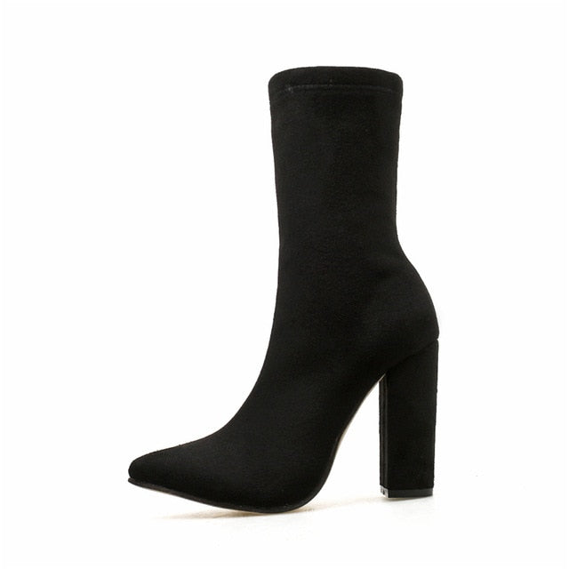 Black Ankle Pointed Boots Block Heel