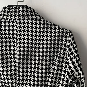 Balmain Inspired Double Breasted Gold Buttons Blazer Houndstooth