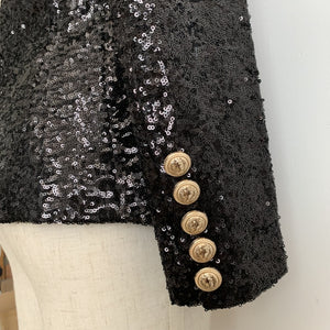 Balmain Inspired Double Breasted Gold Buttons Sequined Blazer black
