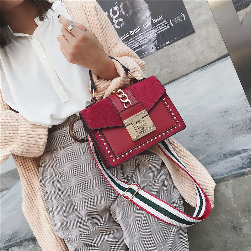 Studded chain suede small cross body designer bag Red