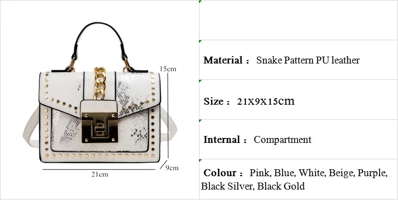 Studded chain snake small cross body designer bag White