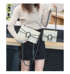 Snake metal chain Cross body Designer Handbag Beige large