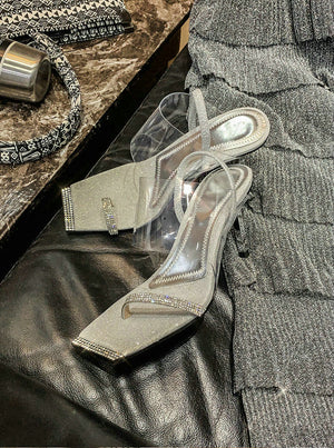 Rhinestone Transparent High Heels Silver 8cm