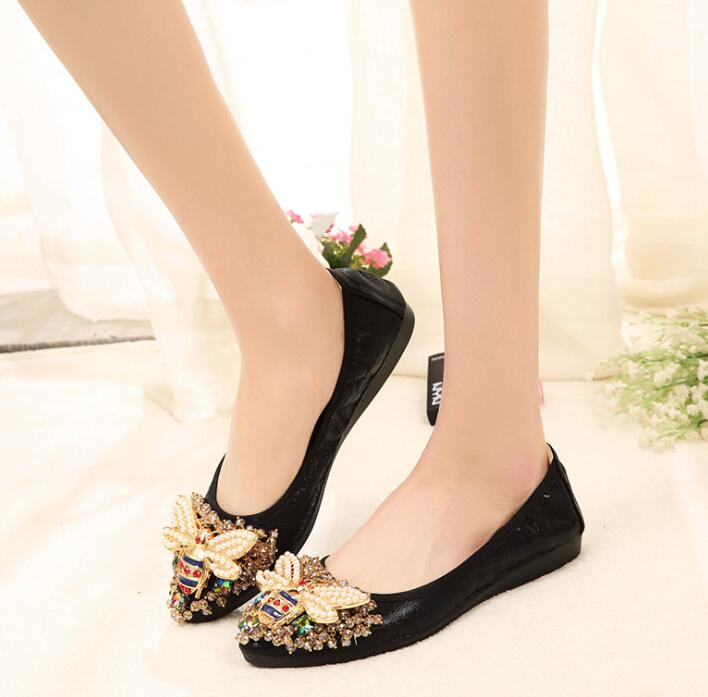 Crystal embellished flat pumps shoes Black big bee