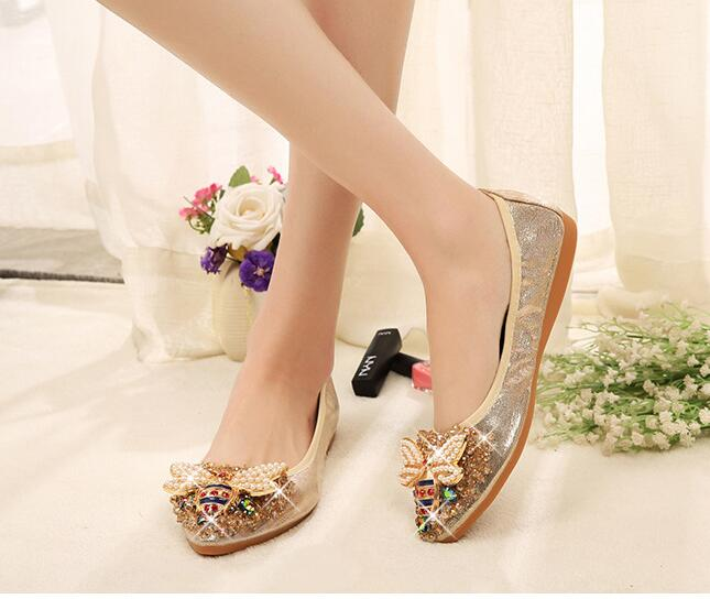 Crystal embellished flat pumps shoes Big gold bee