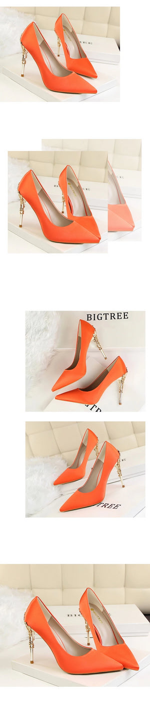 Luxury Metal Heels Pointed Shoes orange