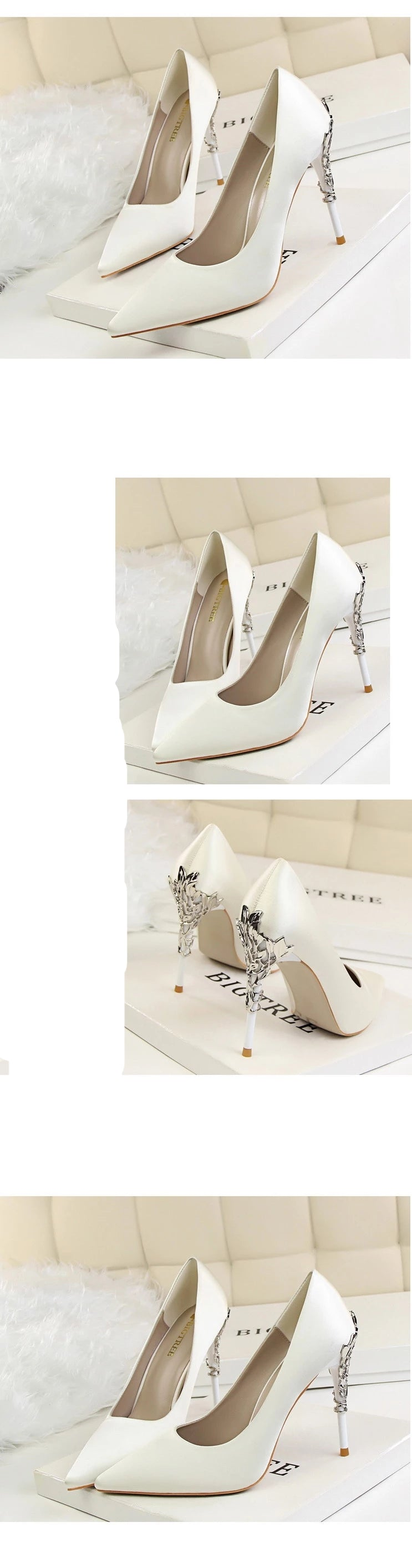 Luxury Metal Heels Pointed Shoes white