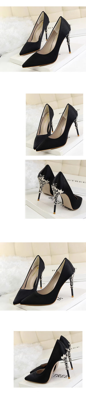 Luxury Metal Heels Pointed Shoes black