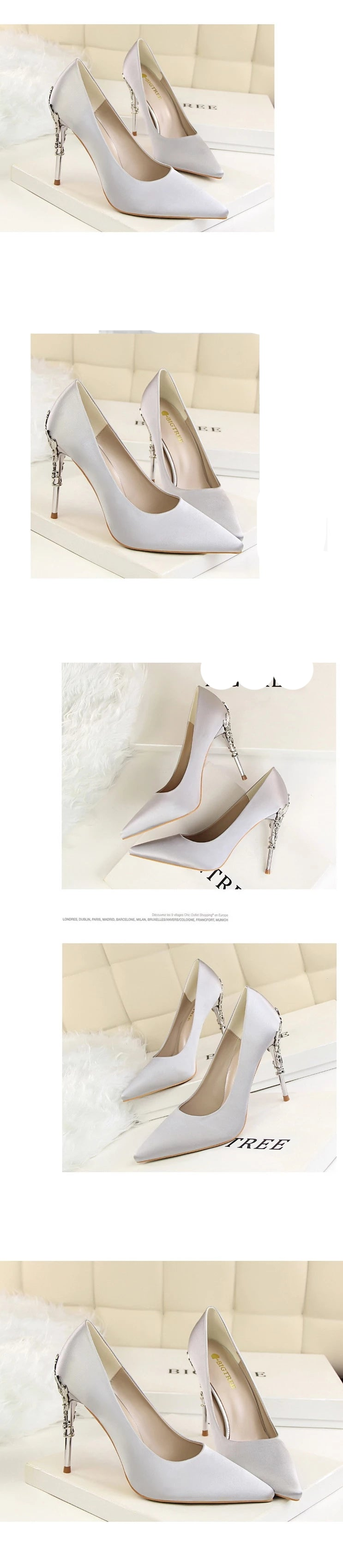 Luxury Metal Heels Pointed Shoes gray