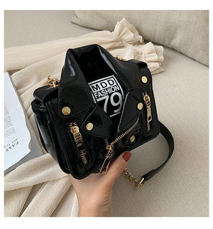 Designer Motorcycle Jacket Women Leather Handbag Black shine