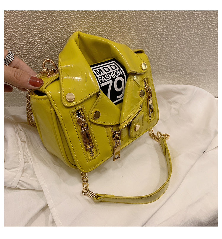 Designer Motorcycle Jacket Women Leather Handbag Yellow
