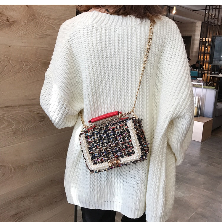 Luxury Woolen Pearl Designer Crossbody Handbag Red