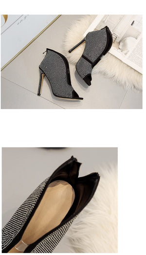Rhinestone Ankle Boots Deep V High Heels black