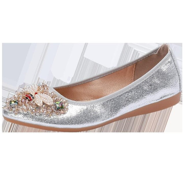 Crystal embellished flat pumps shoes Silver small bee
