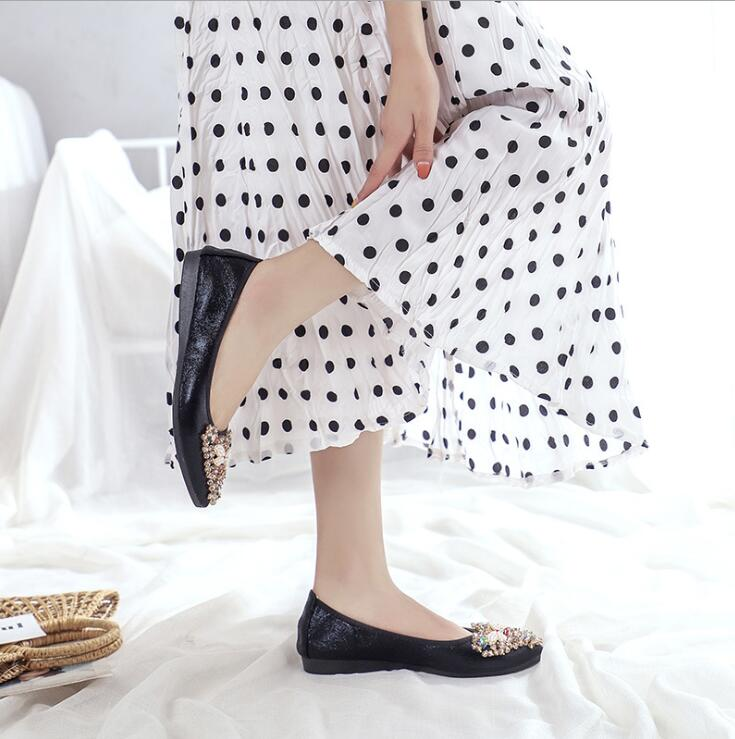 Crystal embellished flat pumps shoes Black small bee