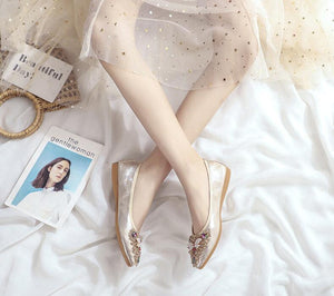 Crystal embellished flat pumps shoes Gold small bee