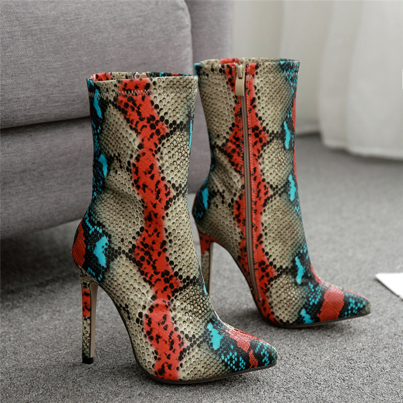 Snake Pointed Ankle Boots high heels Red