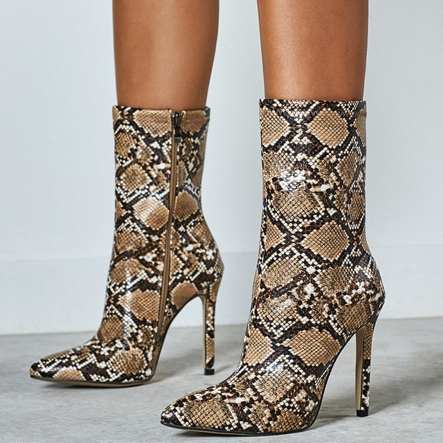 Snake Pointed Ankle Boots high heels Brown